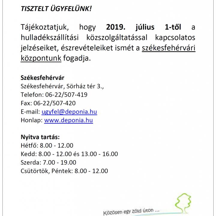 Hulladékszállítás ügyfélszolgálat 2019.07.01-től!