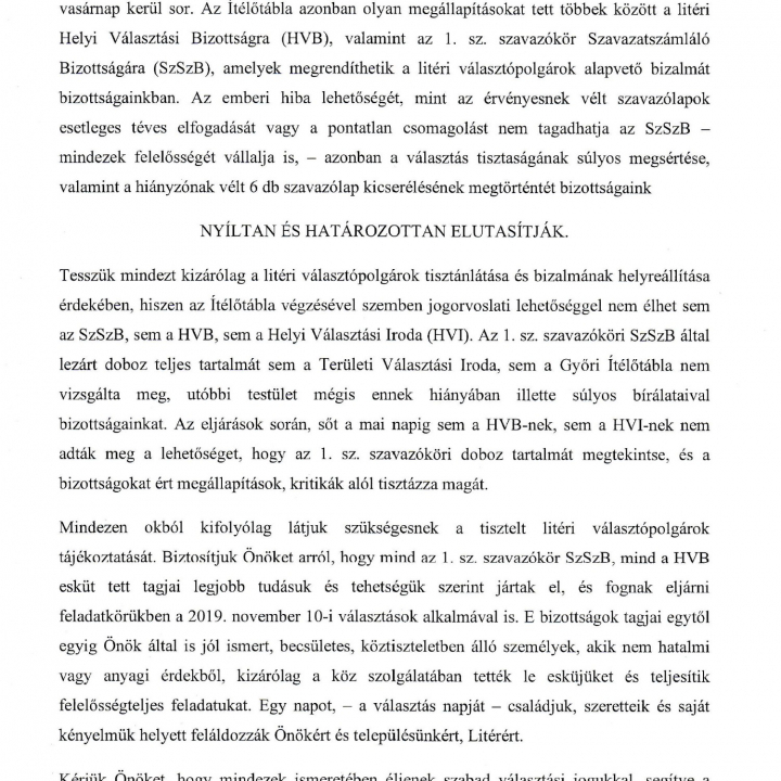 Helyi Választási Bizottság Elnöki közlemény!