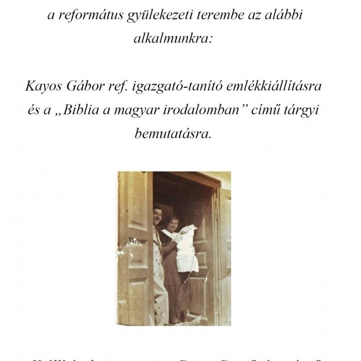 Meghívó - Kayos Gábor emlékkiálításra