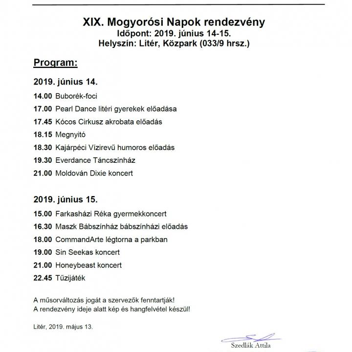 XIX. Mogyorósi Napok rendezvény