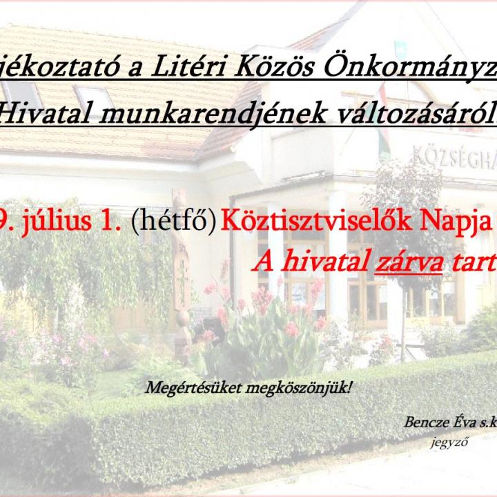 Köztisztviselők Napja (júl.1.) - A Hivatal zárva tart!