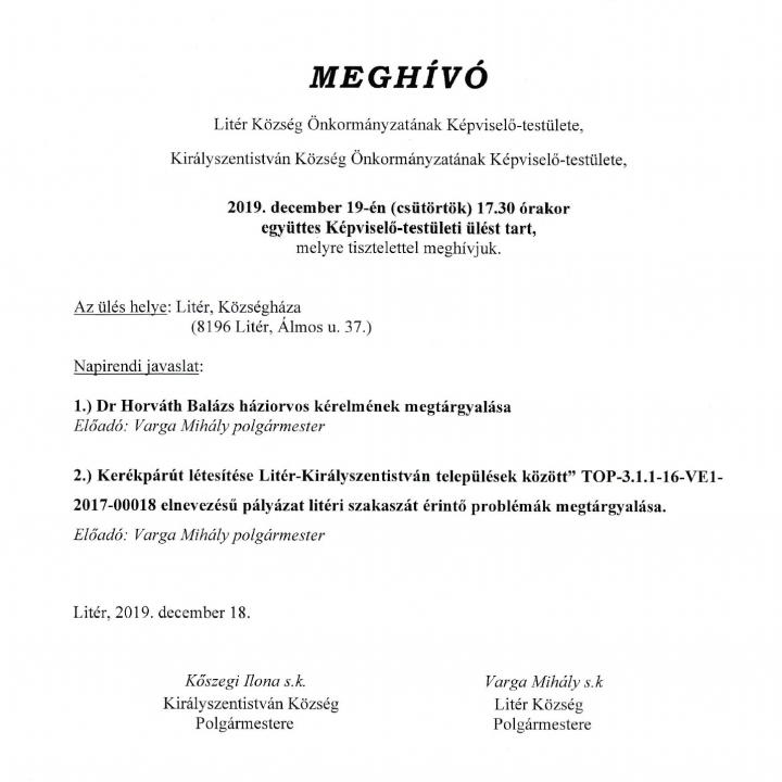 Együttes Képviselő-testületi ülés - 2019.12.19.
