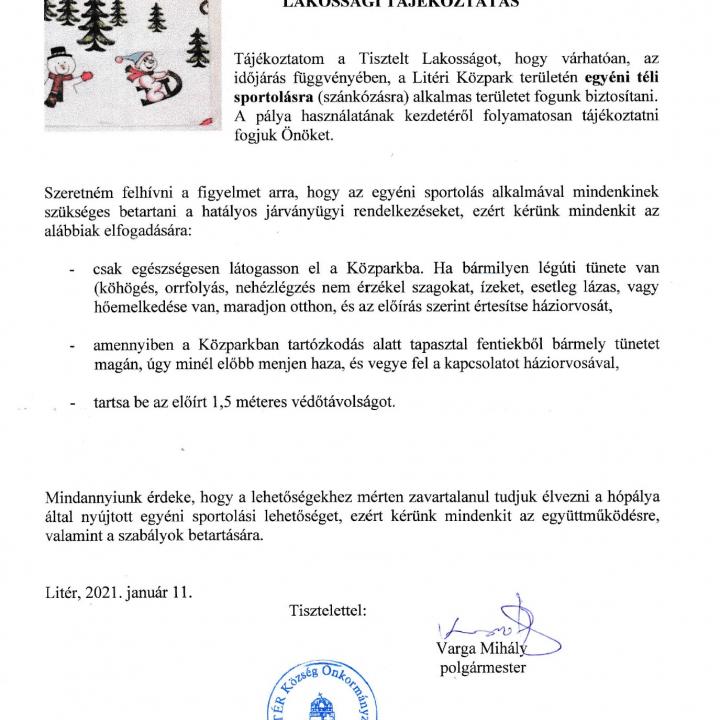 Lakossági tájékoztatás - Közpark!