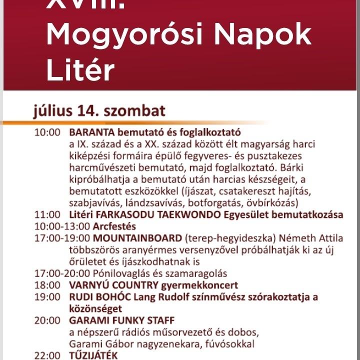 XVIII. Mogyorósi Napok - szombati programok