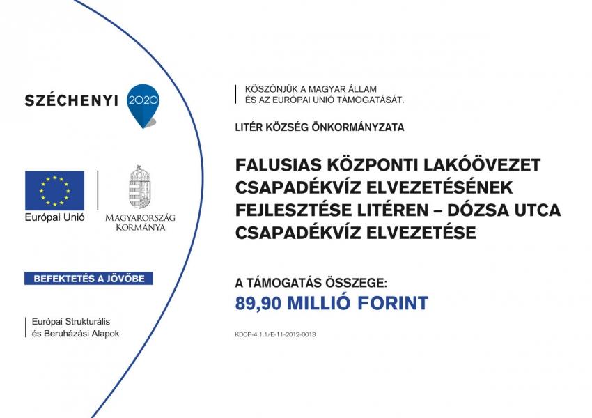Litér, Dózsa György utca és vonzáskörzete csapadékvíz elvezetésének fejlesztése