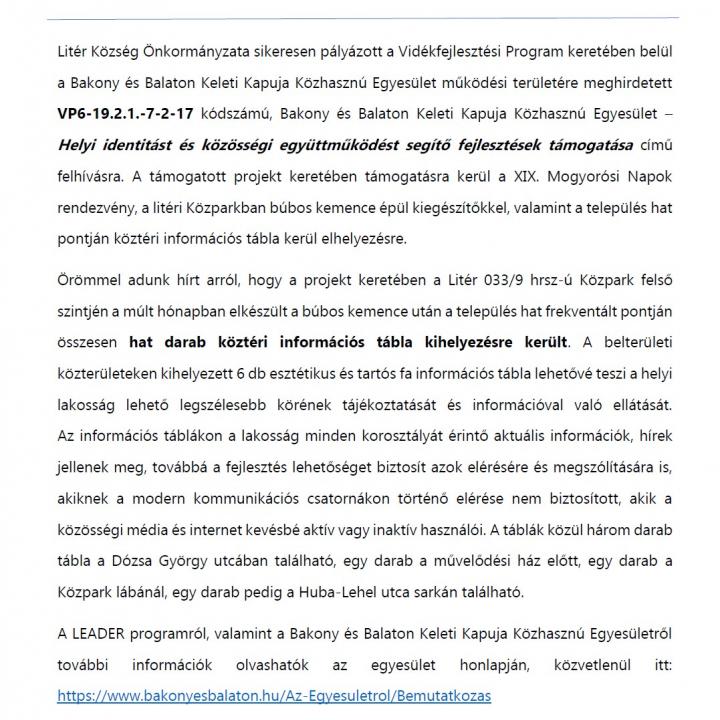 Helyi identitás erősítése Litéren VP6-19.2.1.-7-2-17 - Tájékoztató