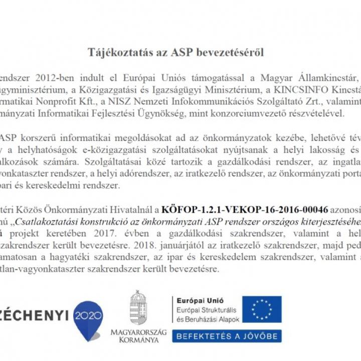 Csatlakoztatási konstrukció az önkrományzati ASP rendszer országos kiterjesztéséhez