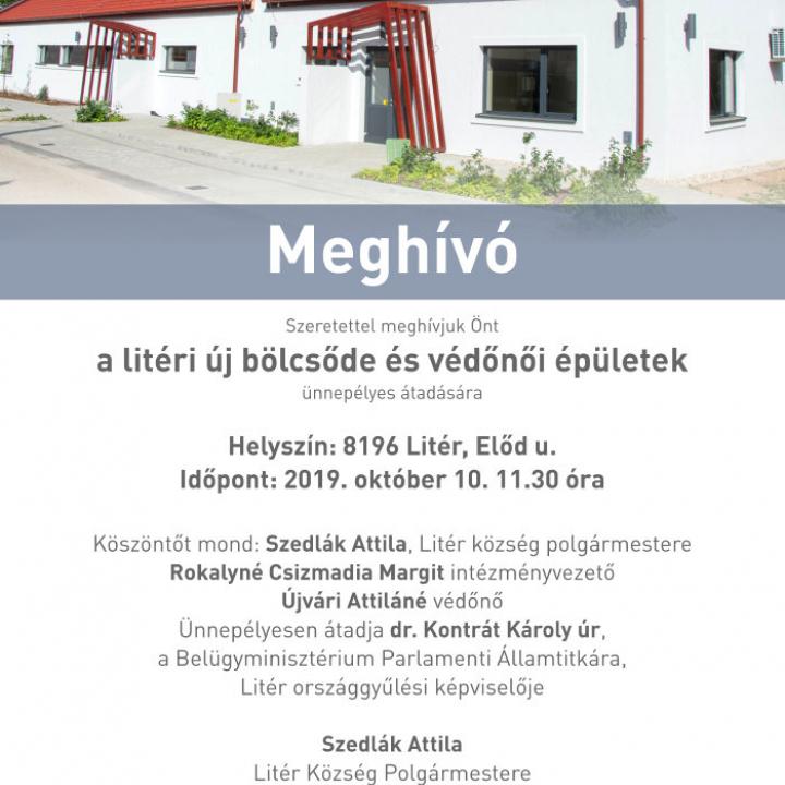 Új bölcsőde épület építése és óvoda bővítése Litéren - Meghívó átadásra 2019.10.10.
