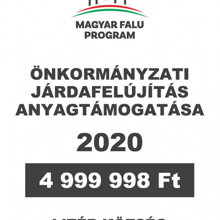 Magyar Falu Program - Járdafelújítás anyagtámogatása