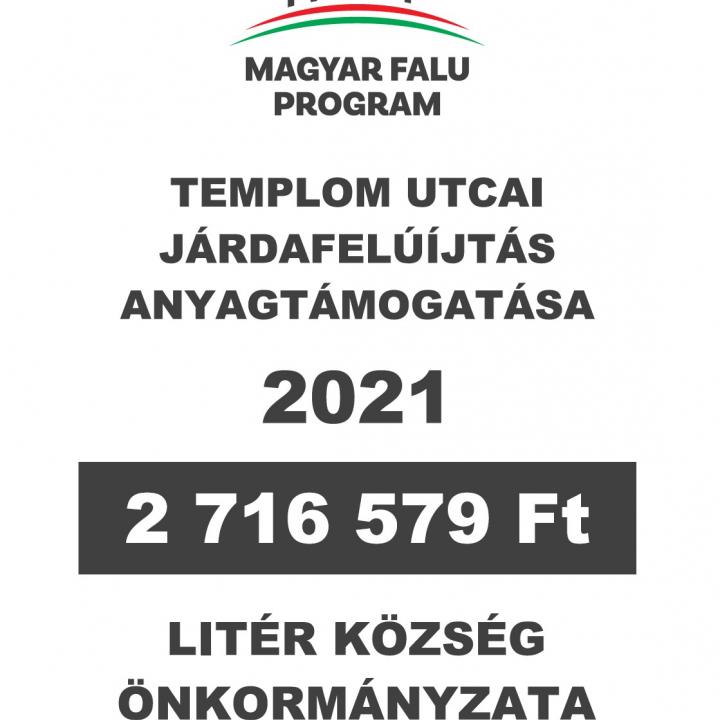 Magyar Falu Program - Templom utcai járdafelújítás anyagtámogatása
